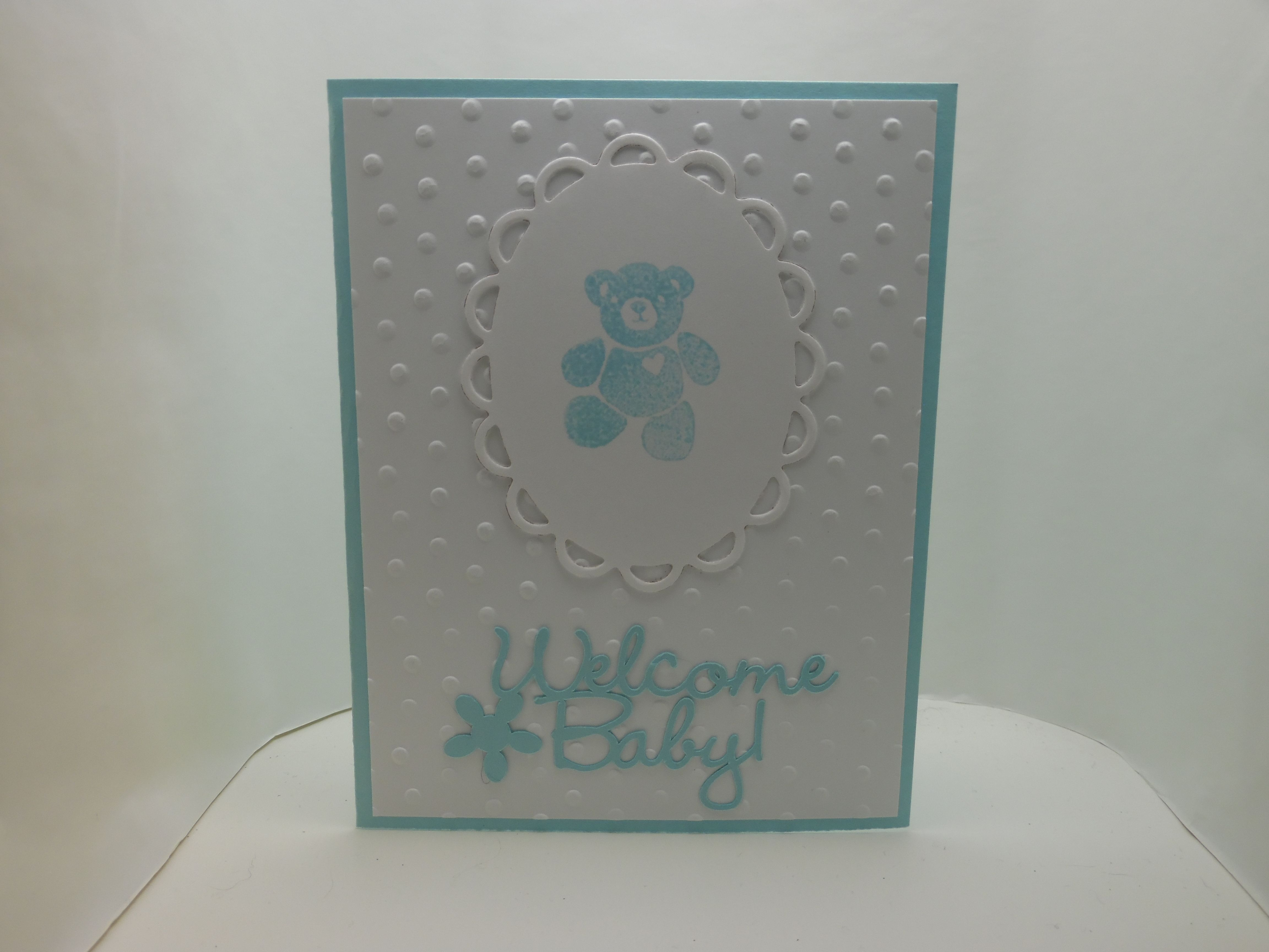 "baby card, cricut  ""welcome baby"" cut, sizzix die cut, Darice embossing folder"