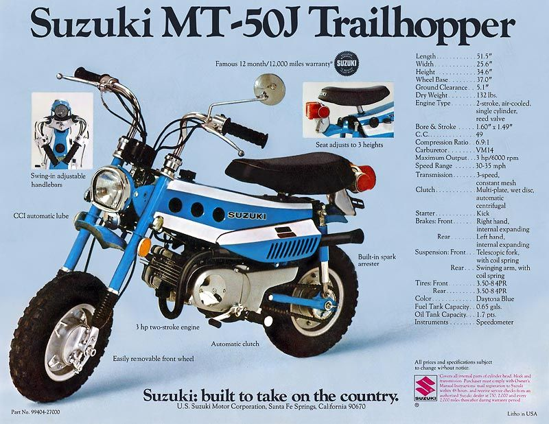 Suzuki Mt50 Brochures Adverts Suzuki Dirt Bikes Mini Bike Suzuki