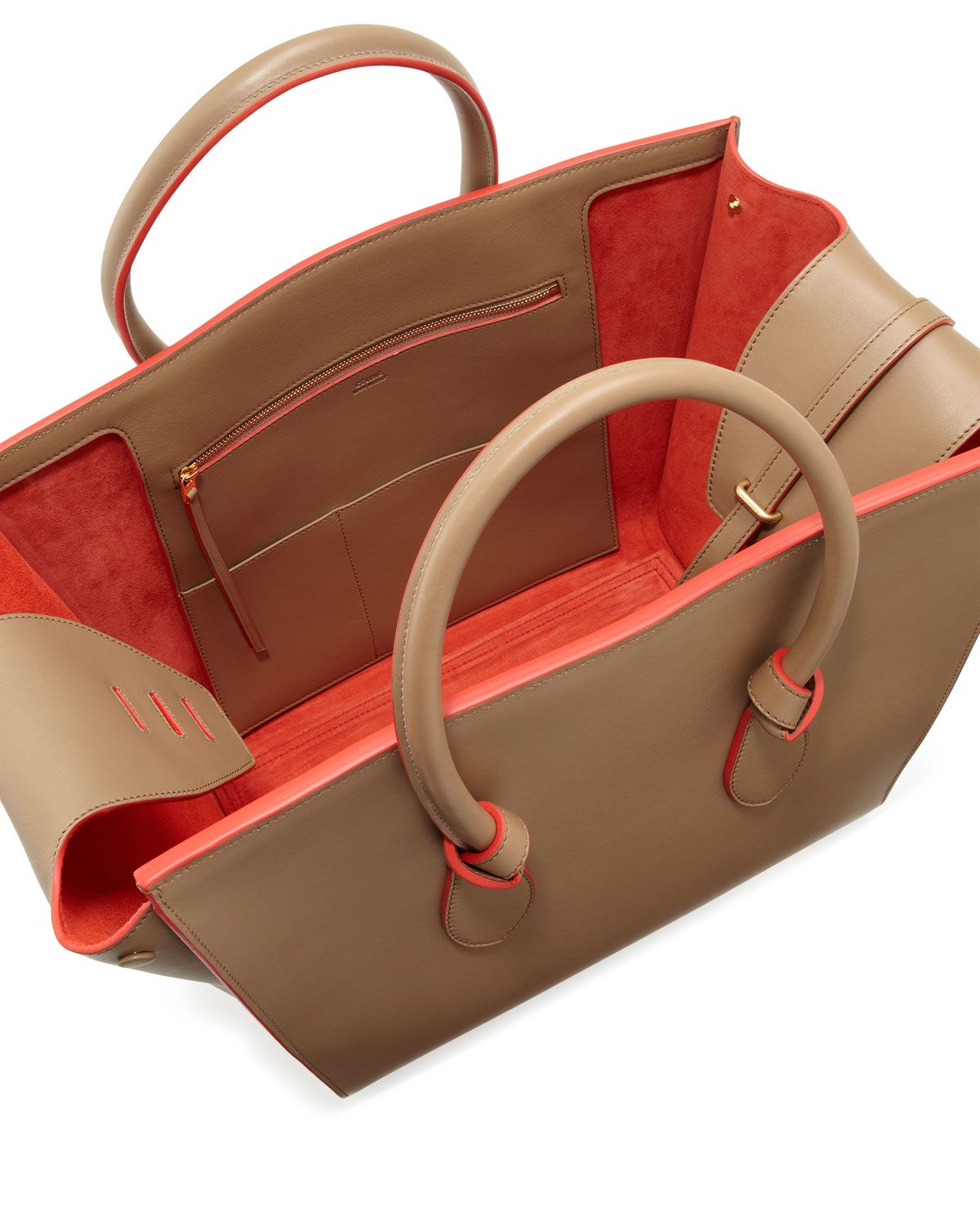 Knot Flap Tote Bag, Beige/Red