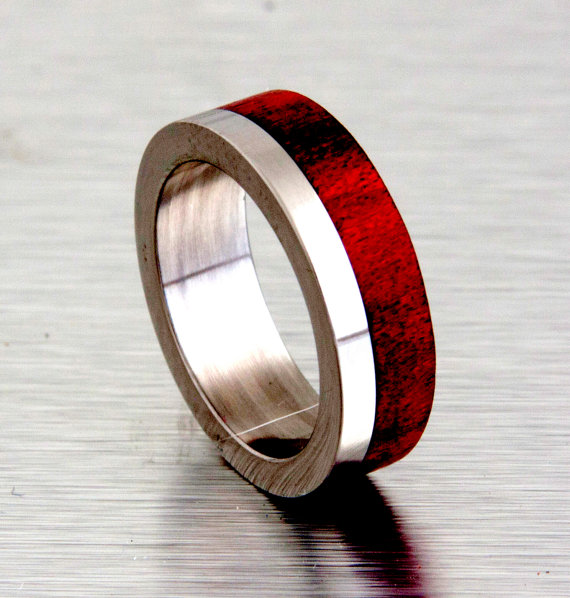 Mens Wedding Band With Wood Red Heart Tand Titanium Ring