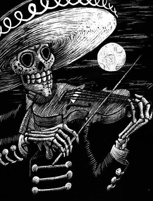 El Mariachi De Calaca Dibujo Dia De Muertos Produccion Artistica Dia De Muertos Wallpaper