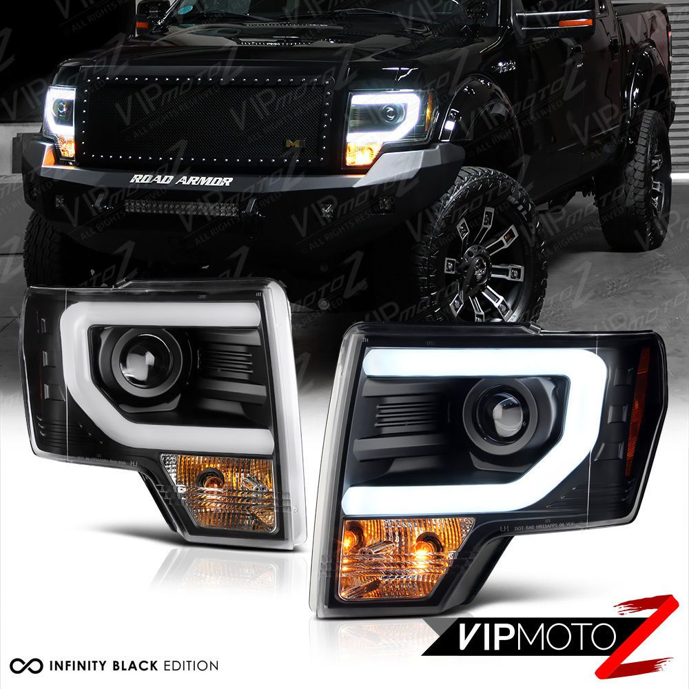2009 2014 Ford F150 Cyclop Optic Led Tube Matte Black Headlights Ebay 2014 Ford F150 Lifted Ford Trucks Pickup Trucks
