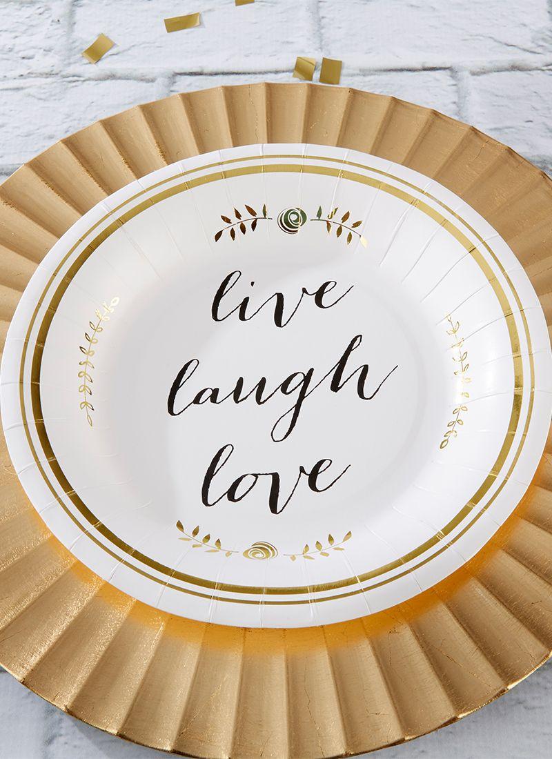 Live Laugh Love Paper Plates Set Of 8 Anniversary Parties