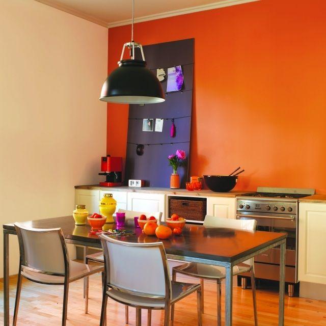 küche wandfarbe orange modulküche ecru | esszimmer | pinterest