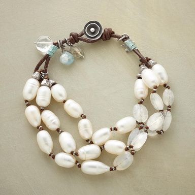 """BLUELIGHT BRACELET -- Naomi Herndon highlights cultured pearls and iridescent moonstones with glimmers of pale blue. Leather loop and sterling silver button clasp. Exclusive. Handcrafted in USA. Approx. 7-1/2""""L."""