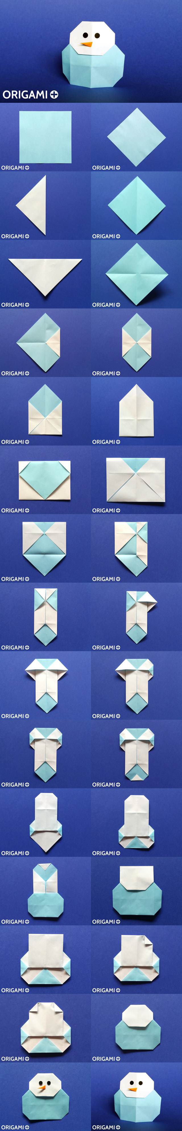 A Very Cool Origami Snowman Easy To Fold And Fun To Decorate