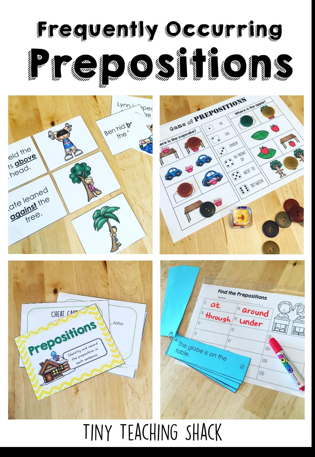 Prepositions ELA Activities Grammar Centers