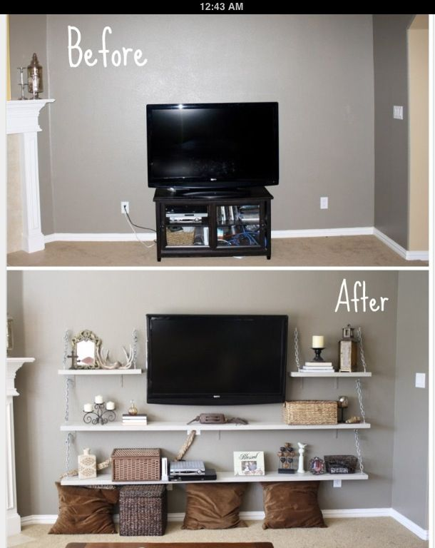Alternative to a entertainment center cute might be - Decor for small living room on budget ...