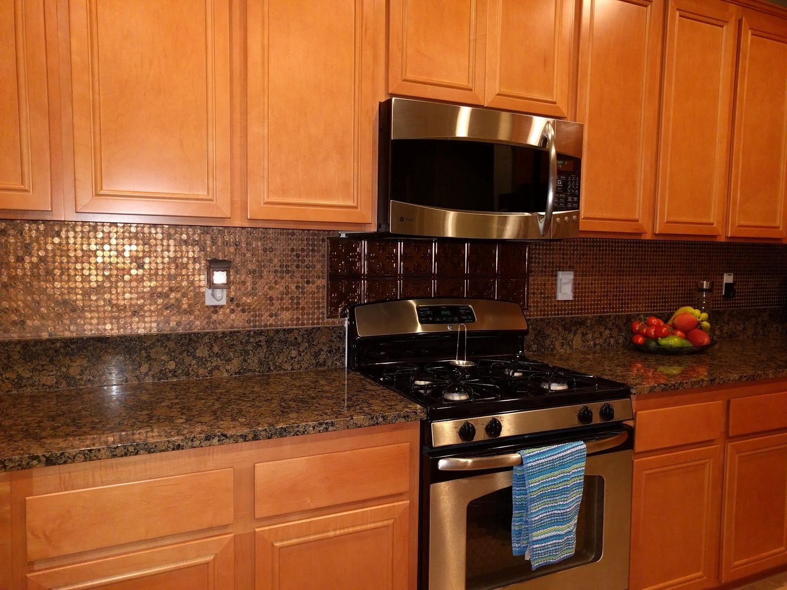 - Penny Backsplash While Cleaning I Had Some Change On The Counter