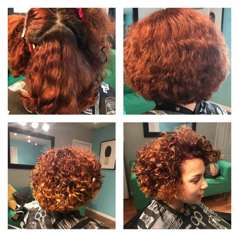 Red With Blonde Highlights In Naturally Curly Hair Start To Finish