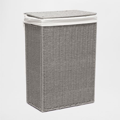 Gray Fabric Lined Laundry Hamper Bathroom Laundry Baskets
