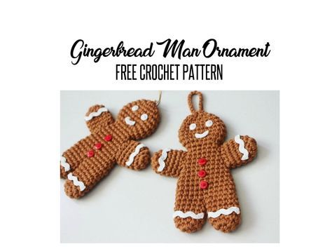 Free Crochet Pattern For Gingerbread Man Ornament Amigurumi
