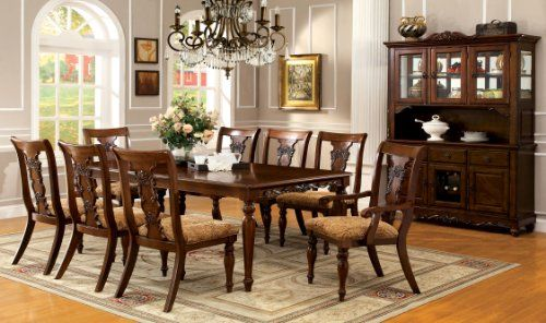 Furniture of America Voltaire 9-Piece Formal Dining Table Set with 18-Inch Expandable Leaf, Dark Oak Finish images
