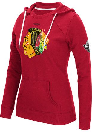 430abc015 Reebok Chicago Blackhawks Womens Red Team Crest Hoodie