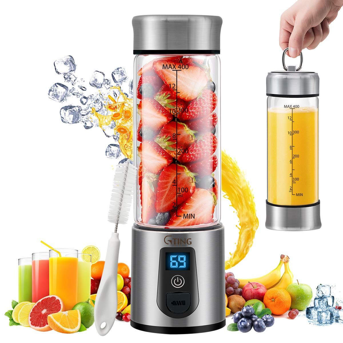 Portable Blender Personal Blender Portable Juicer Cup USB Charge 300ml Electric Fruit Mixer with 2 Blades for Home/&Travel for Juice Smoothie and Milkshake