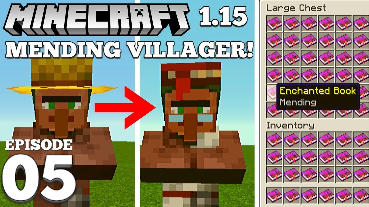 How To Get A Mending Villager Minecraft 1 15 5 Youtube Minecraft 1 Village Enchanted Book