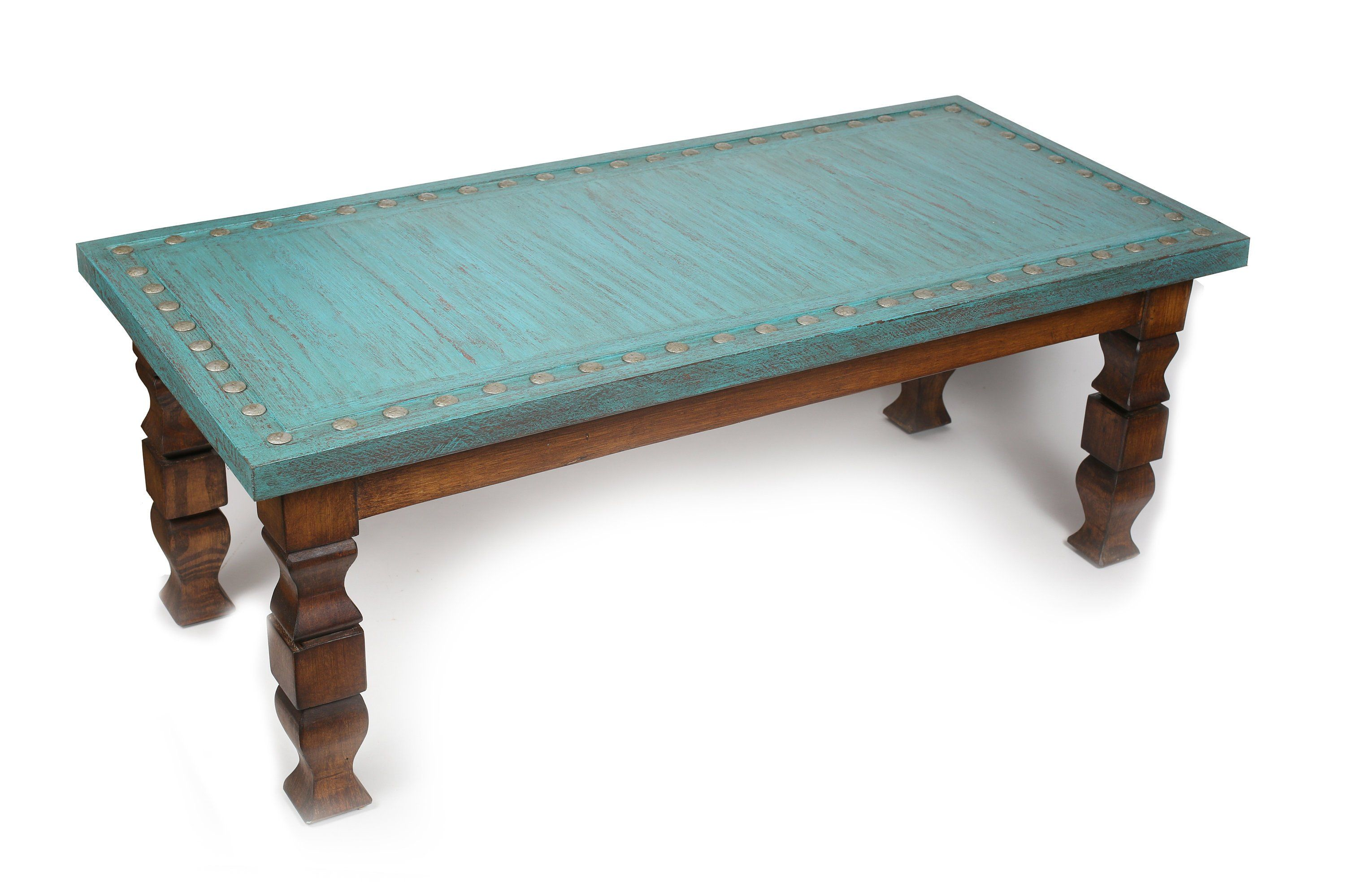 Silver Trails Turquoise Coffee Table 48l X 24w X 17h In Western