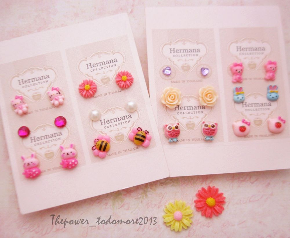 12 Pairs Lot of Cute Kids Plastic Soft Post Stud Earrings for ...