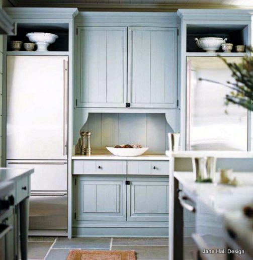 Soft Aqua Smoke Country Style Kitchen Featured In House