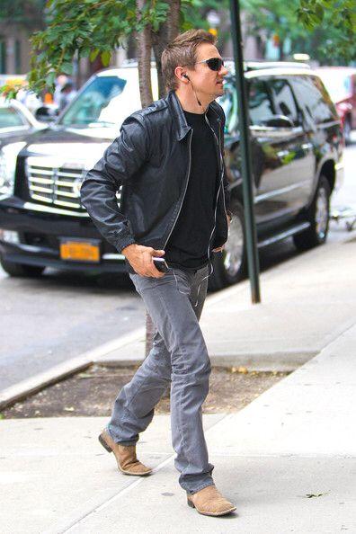 Jeremy Wearing Black T-Shirt, Blue Jeans, Black Leather Jacket ...