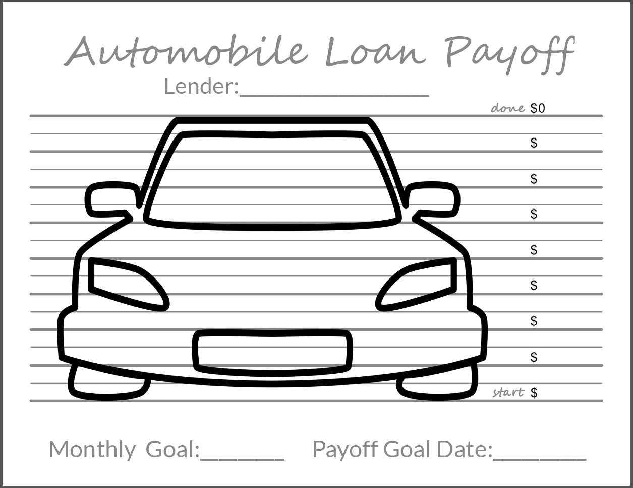 Auto Loan Debt Payoff Goal Tracker Free Printable