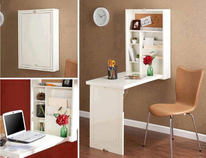 Mueble convertible en mesa escritorio con estantes para for Escritorios compactos