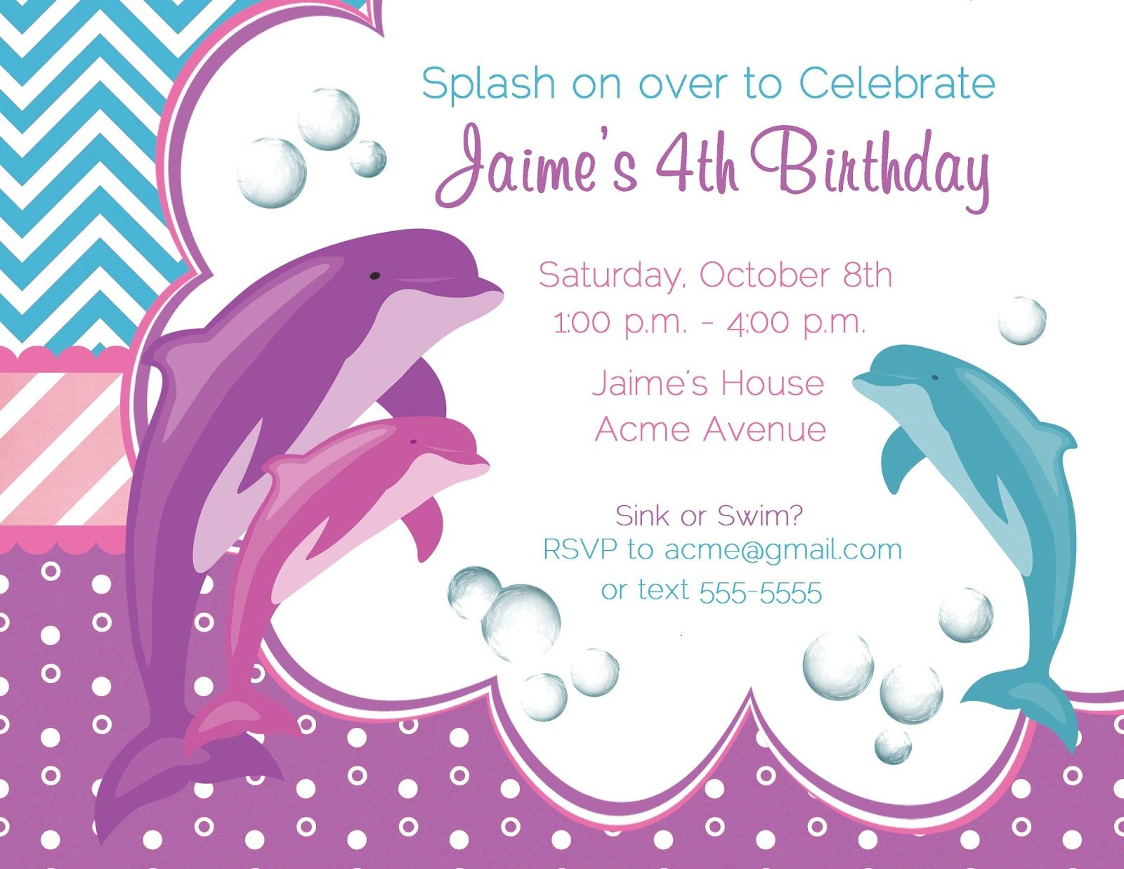 Adorable little girl birthday party invites dolphin birthday