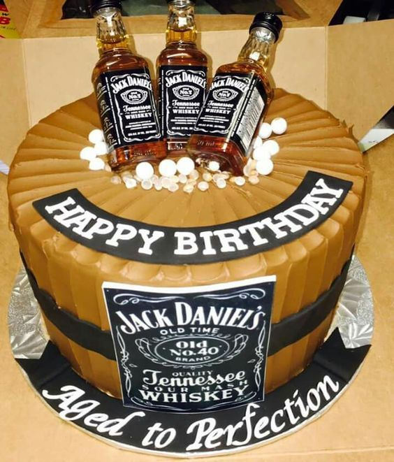 Jack Daniels B Day Cake Topped With Bottles Johns 40th