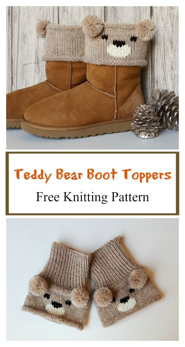Teddy Bear Boot Toppers Free Knitting Pattern Boot Toppers
