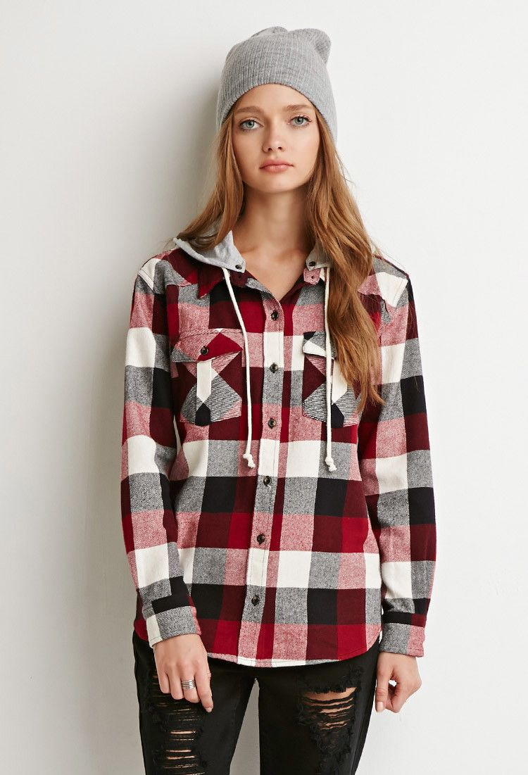 Mens hooded flannel jacket  Hooded Plaid Flannel  Forever  Canada  STYLE  Pinterest