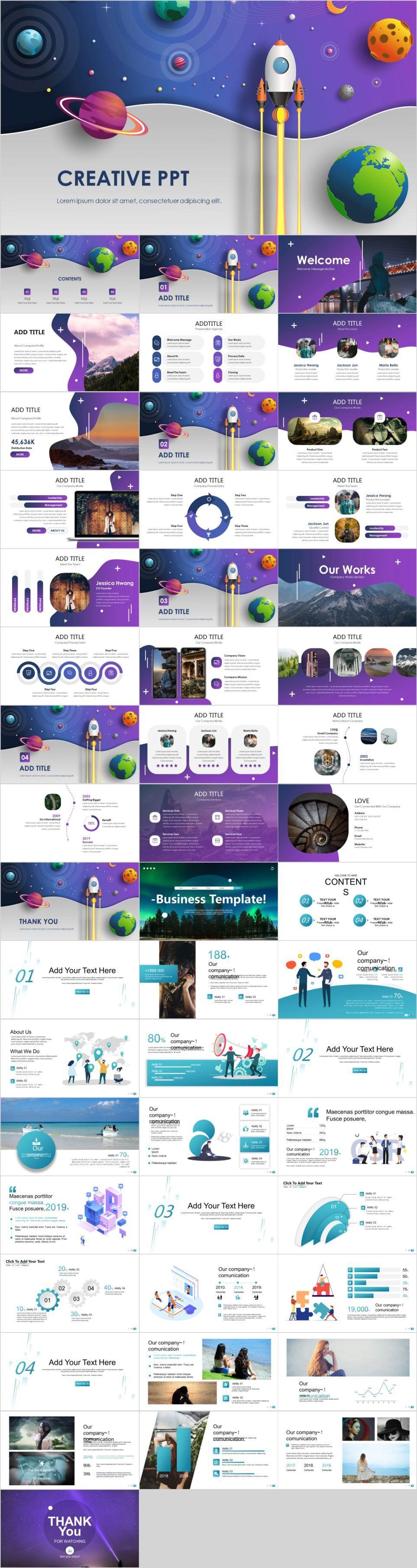 2 in 1 Cartoon business design slides #powerpoint
