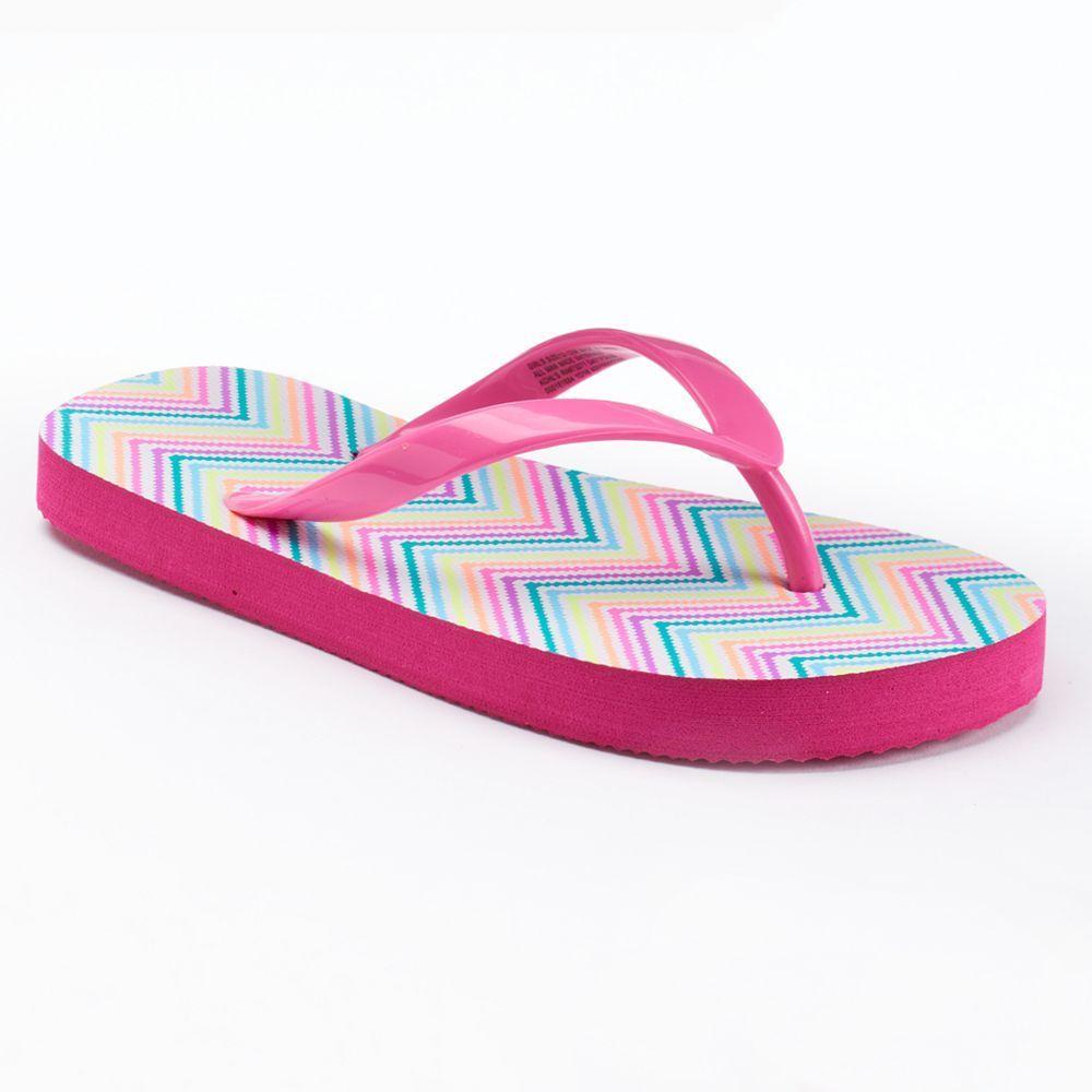 Girls 4-16 SO® Print Flip Flops, Size: S(10/11), White