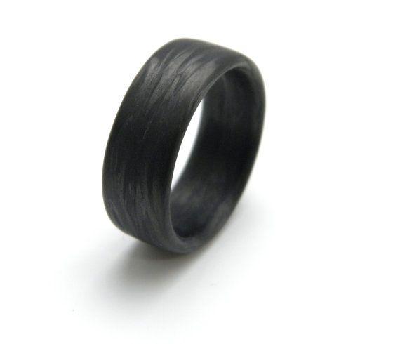 Aangepaste Carbon Fiber Ring in 'Damascus' graan 9mm die U