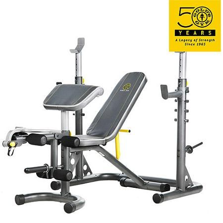 Gold S Gym Xrs 20 Adjustable Olympic Workout Bench With Squat Rack Leg Extension Preacher Curl And Weight Storage Walmart Com At Home Gym No Equipment Workout Golds Gym