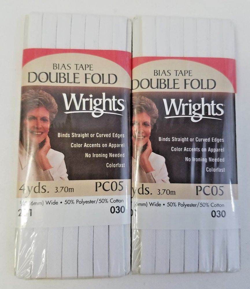 Wrights Double Fold Bias Tape PC05 WHITE 4 yards 1/4\