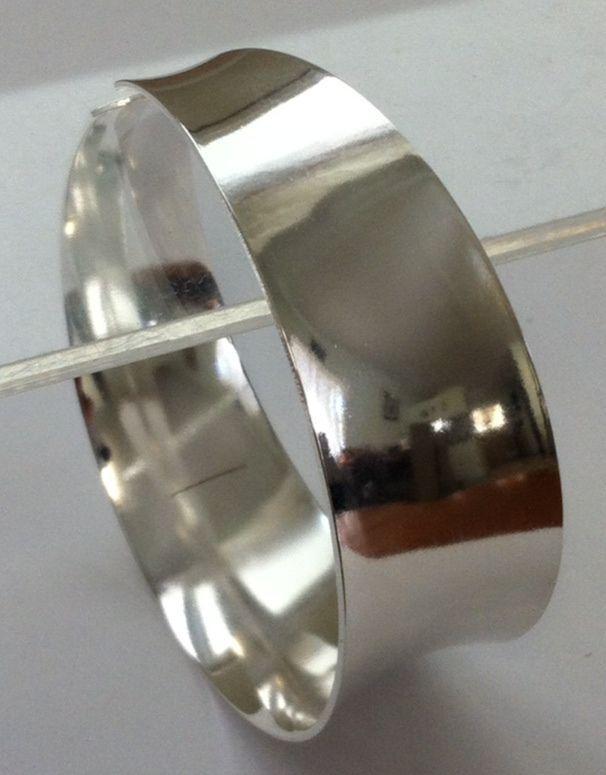 Silver cuff bangle 925 sterling silver plain wide new  bobin boutique jewellery