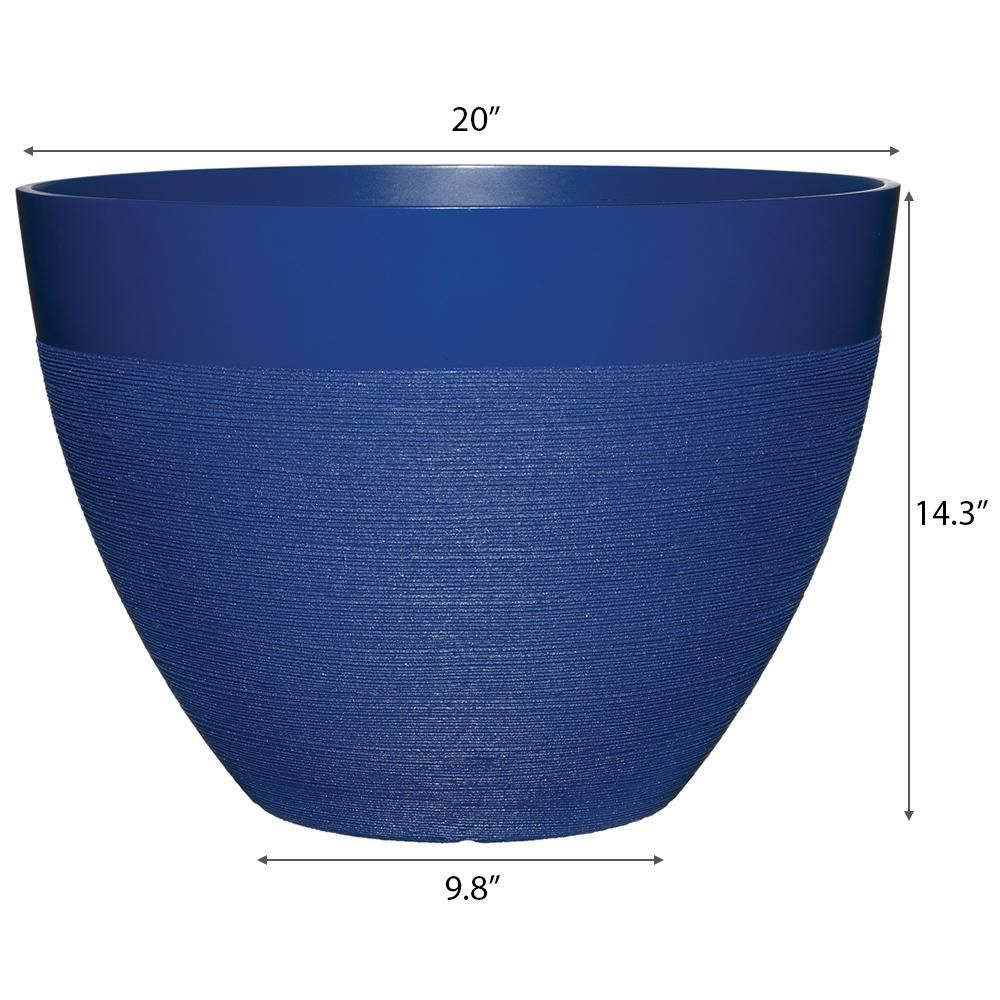 Decatur 20 In Sapphire Blue Resin Planter Hd1331 343 The Home Depot In 2020 Resin Planters Blue Container Stone Planters