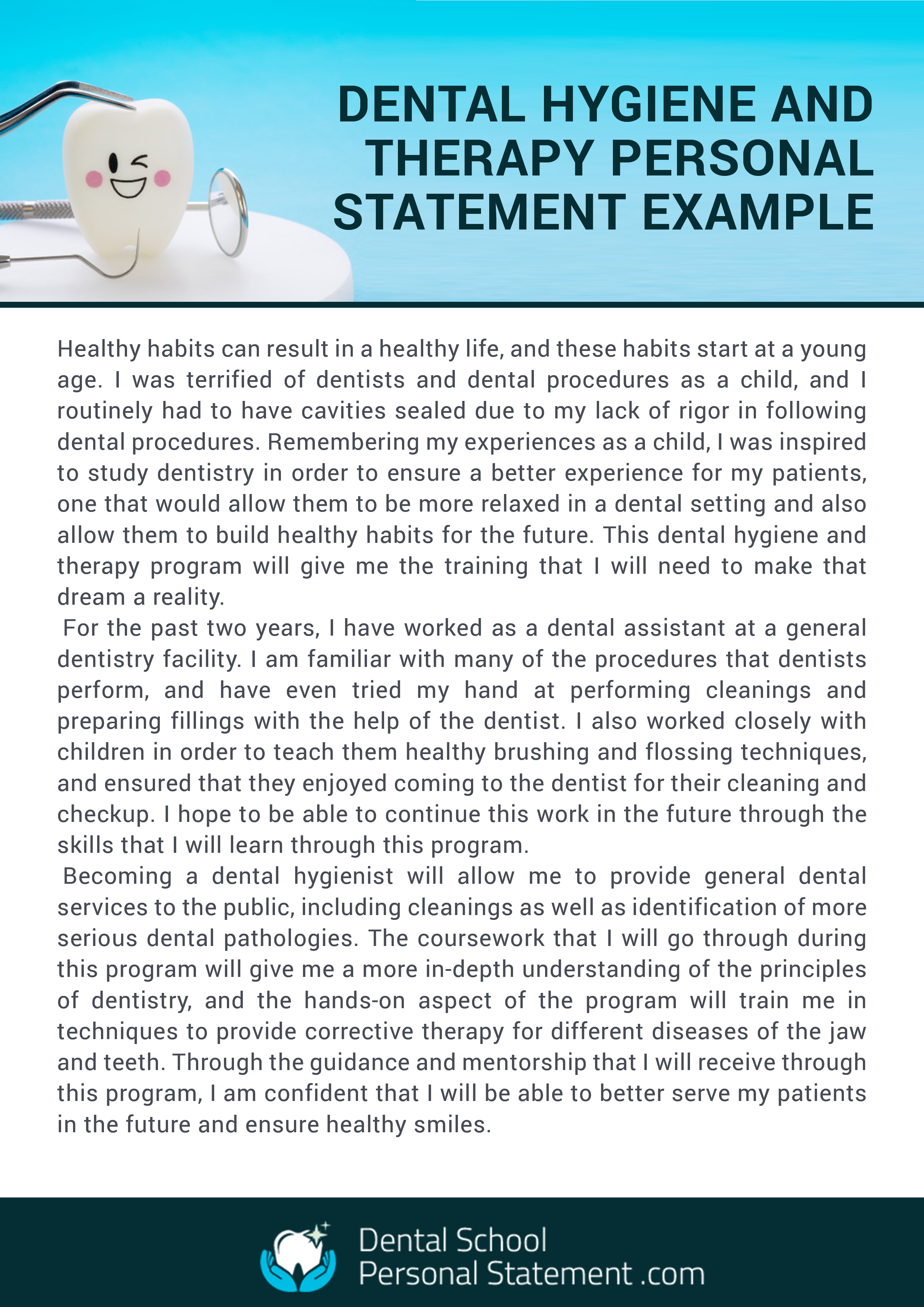 Dental Hygiene And Therapy Personal Statement Example Dentistry Tips Tip