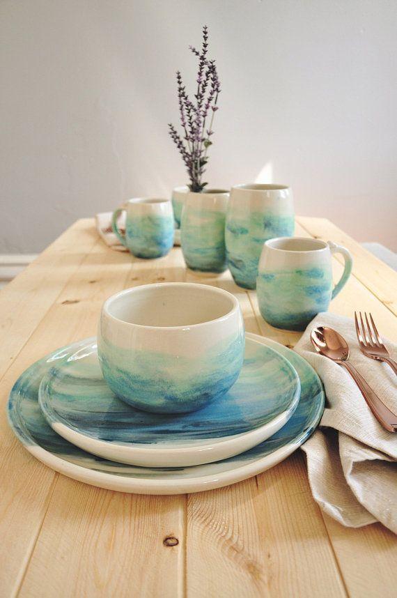 Aquarell Teller Einstellung für zwei - handgemachte Keramik - Ocean Blue - #potterypaintingdesigns