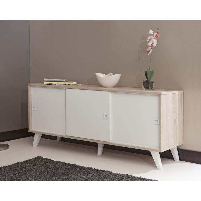 oslo buffet 3 portes149cm coloris ch ne et blanc achat. Black Bedroom Furniture Sets. Home Design Ideas