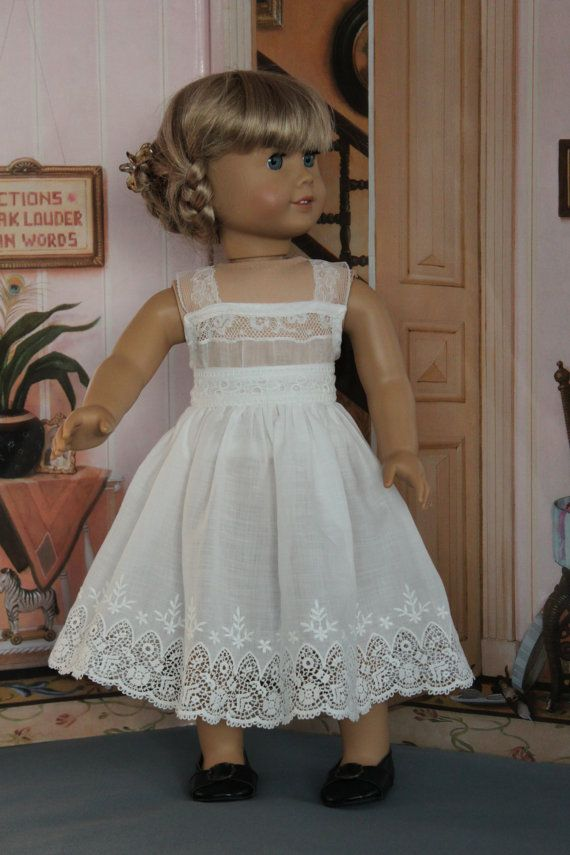 American Girl Doll Clothes -- Petticoat From a Vintage Eyelet Trims -- AC41 #girldollclothes