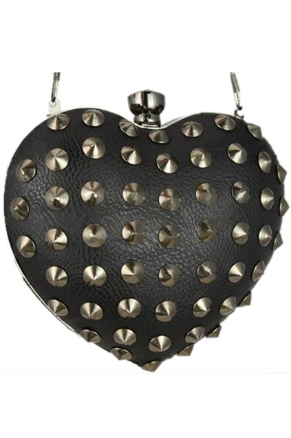 ROMWE | Riveted Heart-shaped Black Bag, The Latest Street Fashion
