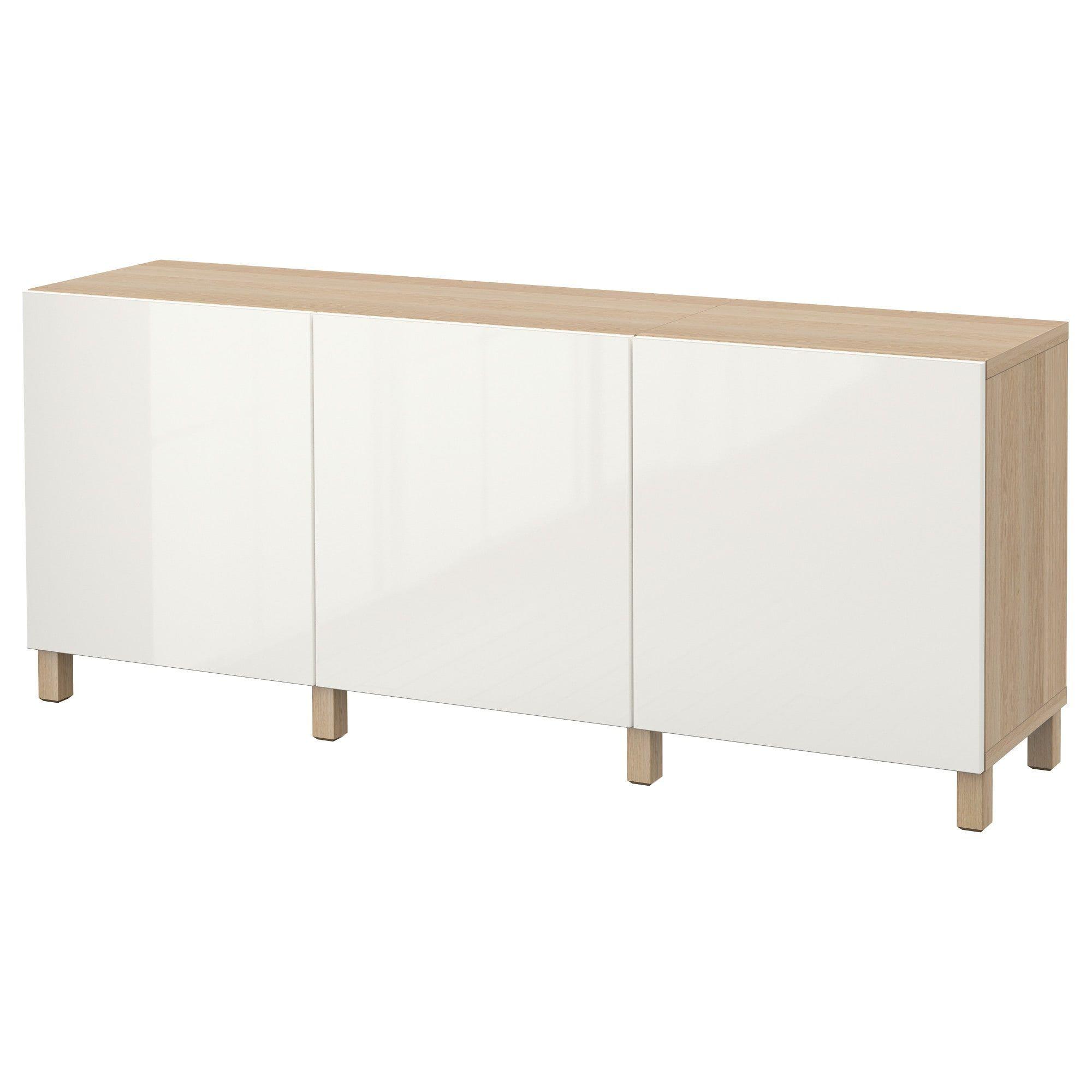 Besta Aufbewahrung Mit Turen Eicheneff Wlas Selsviken Hochglanz Weiss Ikea Basement Remodel Diy Storage