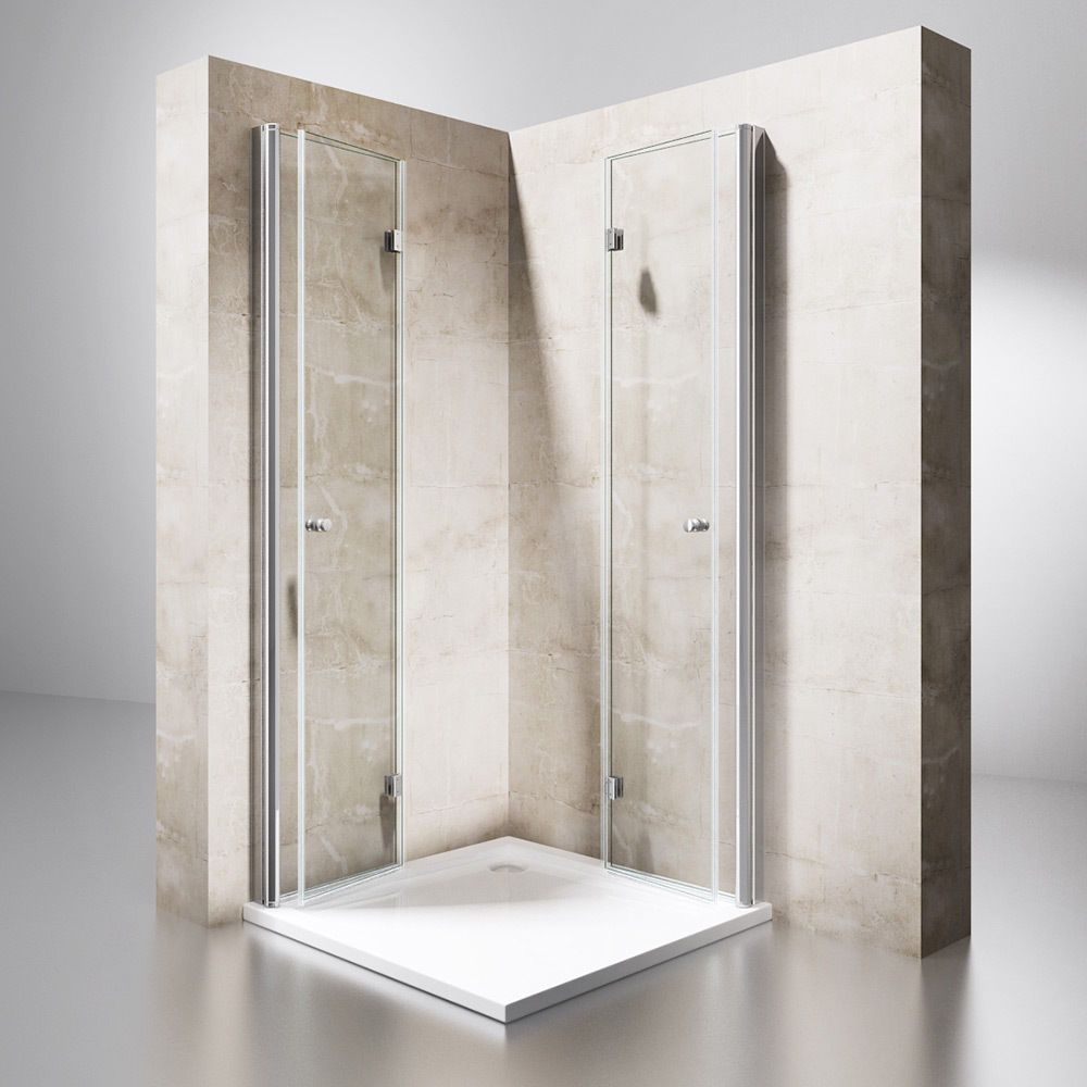 Dusche Duschkabine Falttür Echtglas Duschabtrennung Eckeinstieg ...