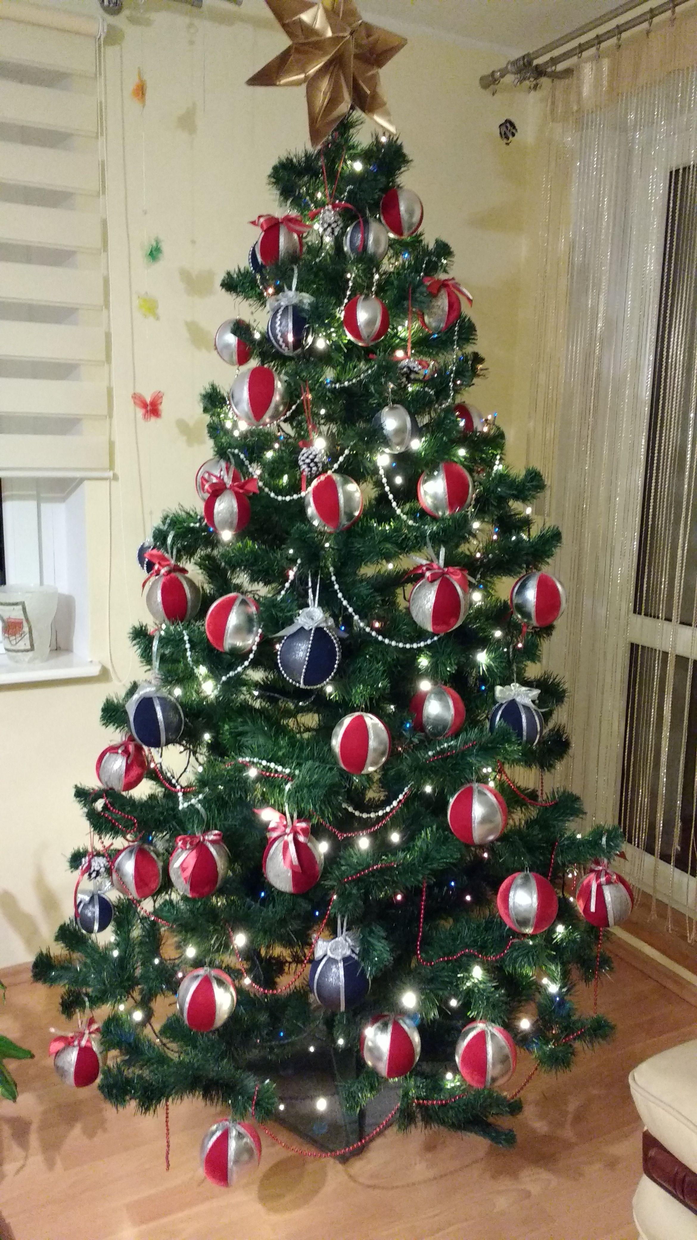 Choinka Czerwono Srebrna Christmas Tree Holiday Decor Holiday