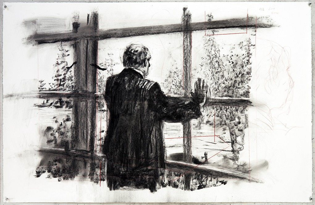 Drawing for 'Other Faces', (Soho looking out of window) 2011