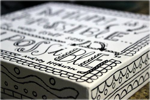 doodle words on canvas