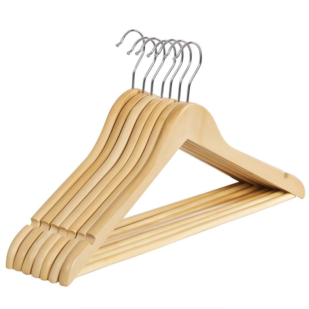 Amazon Com Songmics Solid Wood Clothes Hangers With Non Slip Bar