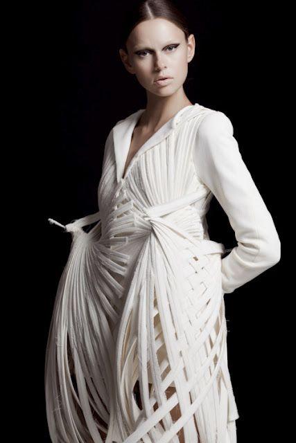 Wearable Art - sculptural bird inspired dress with woven skeletal structure - architectural fashion design // Mark Goldenberg