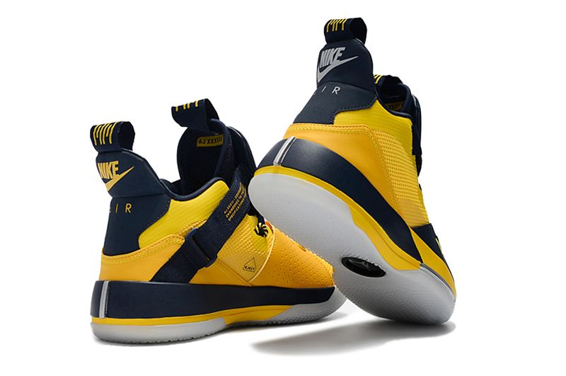 0109c46bb31d Mens Air Jordan 33 Michigan PE Yellow Navy Blue Basketball Shoes ...